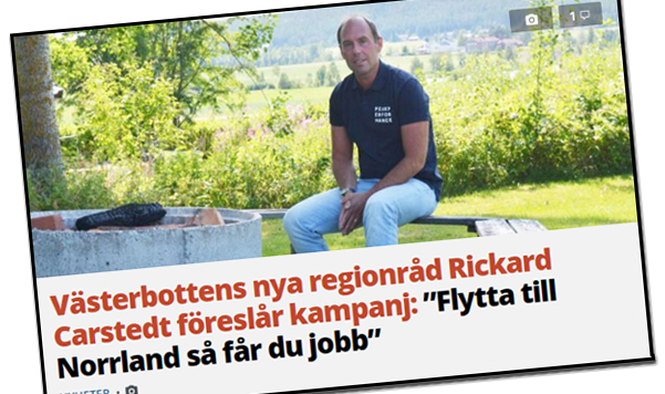 Rickard Carstedt, nytt regionråd i Region Västerbotten.